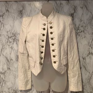 GUESS White Military Style Button Front Jacket